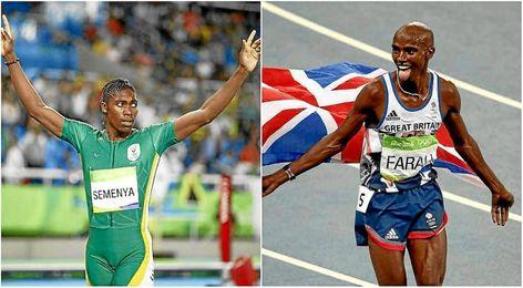 Caster Semenya y Mo Farah reinaron en 800 y 10000 metros.