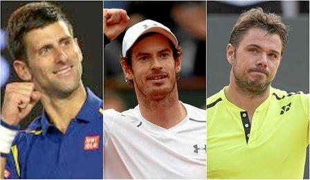 Djokovic, Murray y Wawrinka lideran el ranking de la ATP.