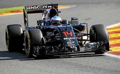 Alonso durante el GP de Bélgica.