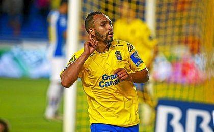 El Zhar celebra un gol ante el Espanyol.