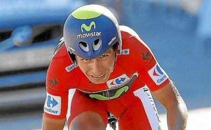 Nairo Quintana, en la contrarreloj de la Vuelta.