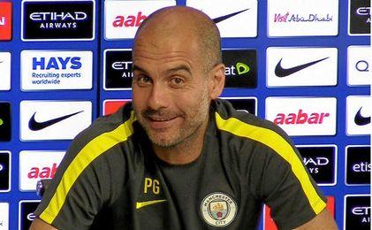 Pep Guardiola durante una rueda de prensa.