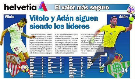Vitolo y Adán siguen siendo los líderes