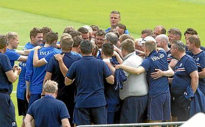 La Selecci�n de Islandia durante la pasada Eurocopa de Francia.