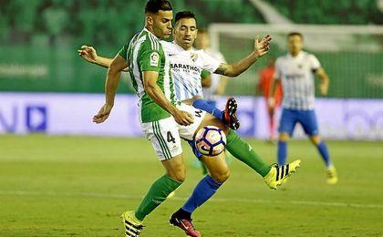 Bruno se mostró muy firme durante el partido con el Málaga.