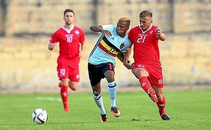 Musonda, en un encuentro con la sub 21 de Bélgica.