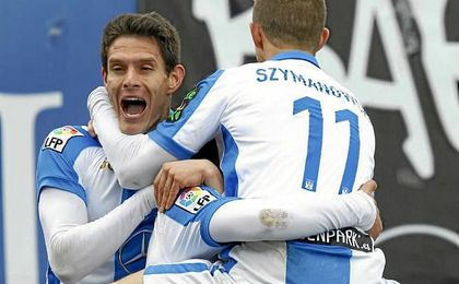 El argentino Alexander Szymanowski, jugador del Leganés, celebrando un gol en Butarque.
