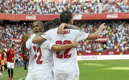 El Sevilla celebra el tanto de la victoria ante el Alav�s en el 87�.