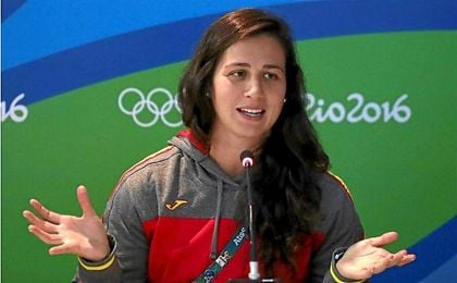 Eli Martínez durante la rueda de prensa en los Juegos de Río.