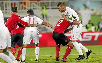 Sergio Ramos, en un lance del partido ante Albania.