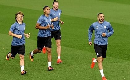 Benzema, durante un entrenamiento con el Real Madrid.