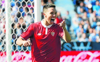 Nasri, celebrando su gol frente al Leganés en Butarque.