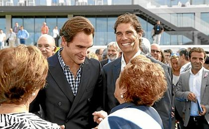 Nadal y Federer, hoy en la inauguración de la Academia de Rafa en Mallorca.