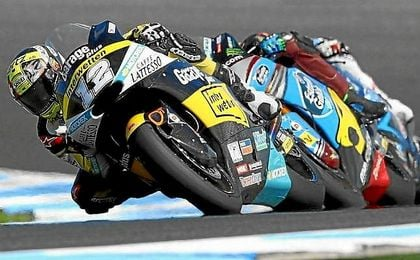 Luthi, rodando en cabeza durante la carrera de Moto2.