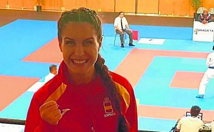La karateca sevillana Aroa Rubio, miembro de la selección española presente en Linz.