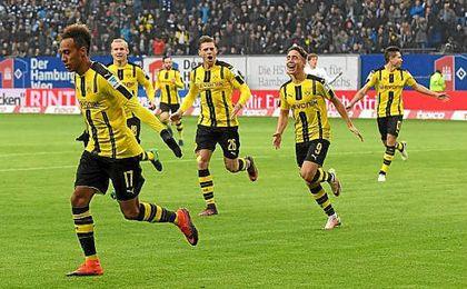 Aubameyang, celebrando uno de sus goles.