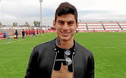 Diego Perotti, en el entrenamiento del Sevilla.