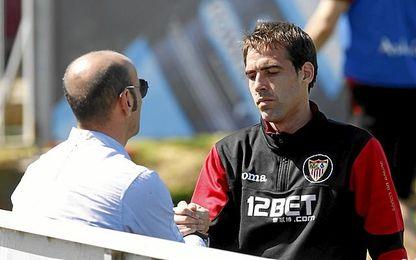 Monchi y Navarro, en el Sevilla FC.