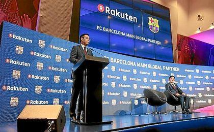 Josep María Bartomeu, en la presentación del acuerdo.