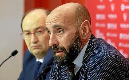 Monchi, durante la presentación de Stevan Jovetic.