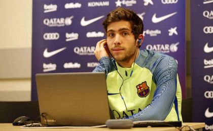 Sergi Roberto en rueda de prensa. FCB.