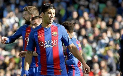 Suárez, durante el partido de este domingo.