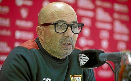 Jorge Sampaoli, durante una rueda de prensa.