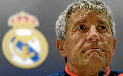 Quique Setién, en la sala de prensa del Santiago Bernabéu.