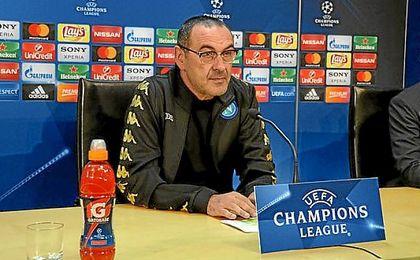 Maurizio Sarri, en la rueda de prensa de la Champions.