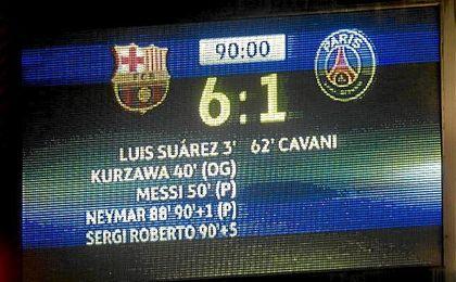 Instantánea del marcador con el resultado favorable para el Barça.
