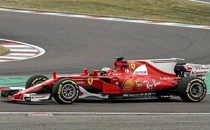 Kimi Raikkonen en la presentación del nuevo Ferrari en Fiorano.