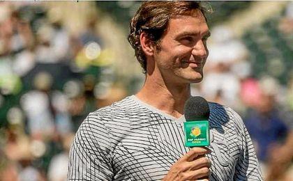 Federer se presentó ante el público asistente a pesar de no jugar.