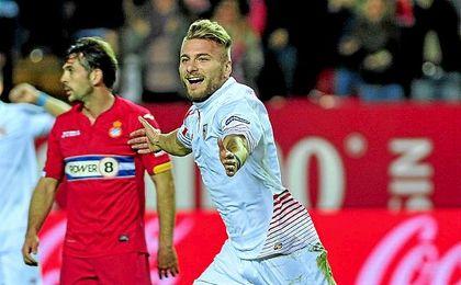 Immobile durante un encuentro con el Sevilla la pasada temporada.