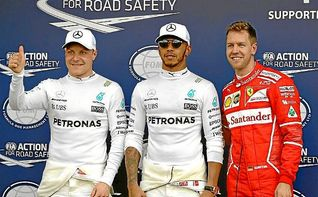 Hamilton estrena 2017 dominando en la ´pole´, Ferrari se acerca