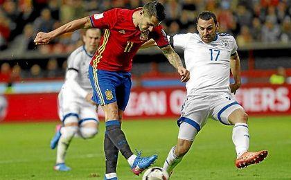 Vitolo hizo ayer ante Israel su cuarto gol con España.