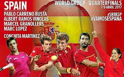 Carreño, Ramos, Granollers y Marc López, equipo español ante Serbia.