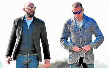 Monchi y Arias presentes en el entrenamiento sevillista. SFC.
