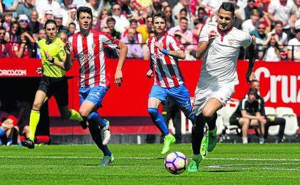 Vitolo, ante el Sporting, fue el jugador que más ganas le puso.