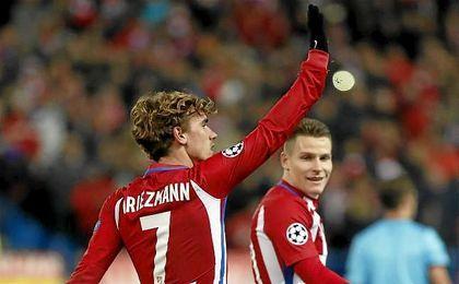 Griezmann celebrando un gol con el Atlético.