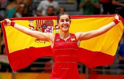 Carolina Marín celebrando su victoria en Río.