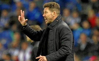 Simeone, en el estadio del Espanyol.