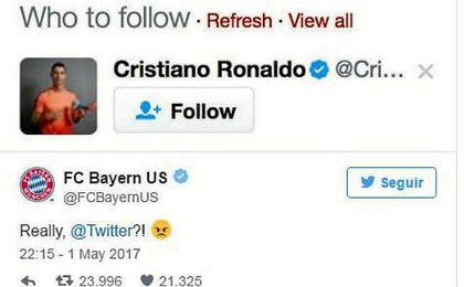El Bayern, Cristiano y la sugerencia de Twitter