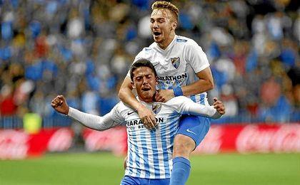 Fornals celebra su gol contra el Sevilla.