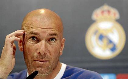 Zidane, técnico del Real Madrid, en sala de prensa.