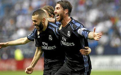 Ramos celebra el segundo gol blanco.