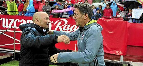 Sampaoli y Berizzo se saludan en el último Sevilla-Celta.