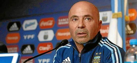 Sampaoli, durante una rueda de prensa con Argentina.