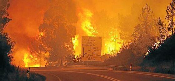 Imagen del incendio en Leiria, que ha dejado ya 57 fallecidos.