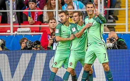 Ronaldo celebra su gol frente a Rusia.