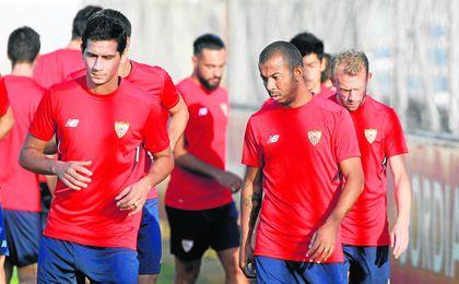 Mariano se ejercita junto a sus compañeros en una de las primeras sesiones de la pretemporada.